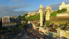 Aerial View of Famous Monument and Lacerda Elevator in Salvador, Bahia, Brazil Stock Footage