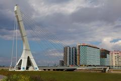 Single-span cable-stayed bridge with one pylon and heating main - stock photo