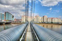 Stock Photo of district heat pipes crossing river