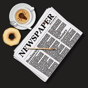 illustration of newspaper with cappuccino cup and doughnut - stock illustration