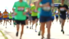 Blurred mass of people, marathon runners Stock Footage
