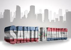 Stock Illustration of text santo domingo with national flag of dominican republic