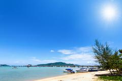 Beach harbor area at Ao Chalong Bay in Phuket, Thailand - stock photo
