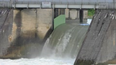Spillway of the Passau-Ingling hydroelectric dam in Passau Stock Footage