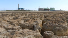 Drought land with construction plant Stock Footage