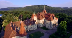 Romantic fairytale mansion in the French style. Aerial Stock Footage