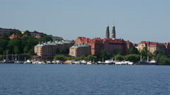 Sodermalm district and Hogalid Church, Stockholm, Sweden Stock Footage