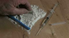 Preparing illegal drugs Stock Footage