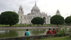 People relaxing in Victoria Memorial park,Kolkata,India Stock Footage