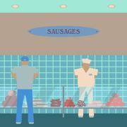 Sausage showcase flat icon. Supermarket glass case design template.  Department - stock illustration