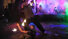 Two fire performers, Zombiecon, Halloween, Fort Myers, Florida Stock Footage