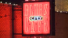 Blues Cafe Sign - stock footage
