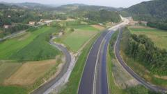 Aerial shot of highway construction Stock Footage