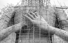 The construction of Buddha statue for monochrome - stock photo