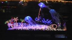 Fort Myers Beach Christmas Boat Parade with jellyfish, Florida Stock Footage