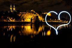 Vysehrad from river side with with hearth by light, Czech Republic, Prague Stock Photos