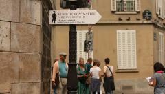 People walking in Montmartre Stock Footage