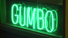 Neon GUMBO Sign Stock Footage
