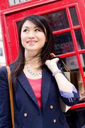 young chinese tourist in london - stock photo