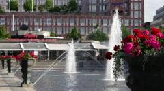 Fountain in Kungsträdgården, Norrmalm, Stockholm, Sweden Stock Footage