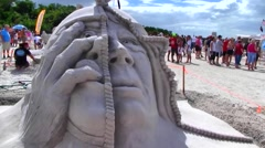 Sand Sculpture, Fort Myers Beach International Competition, Florida Stock Footage