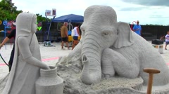 Sand Sculpture Competition, Fort Myers Beach, Florida Stock Footage