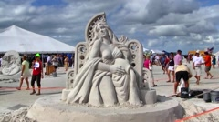 Woman Sand sculpture, Fort Myers Beach, Florida Stock Footage