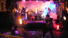 Slow motion fire performers, Zombiecon, Fort Myers, Florida Stock Footage