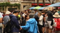 Crowd walking in Montmartre Footage