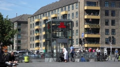 Square in Christianshavn with Metro station and people Stock Footage