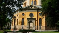 Tilt from Hedvig Eleonora Church in Stockholm Sweden Stock Footage