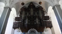 Wide angle: The organ of the Church of Our Saviour, Copenhagen Stock Footage