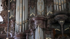 Pan: The organ of the Church of Our Saviour, Copenhagen Stock Footage