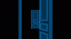 Infinite doors opening animation. Optical illusion - stock footage