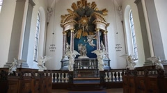 The interior of the Church of Our Saviour, Copenhagen Stock Footage