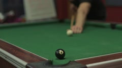 Billiards / Pool - Man Pots 8 Ball in Corner Pocket - 1080p HD Stock Footage