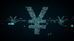 Digital Yen Symbols Blue Stock Footage