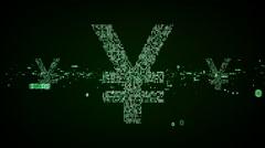 Stock Video Footage of Digital Yen Symbols Green