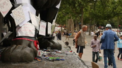 Charlie Hedbo memorial in Paris Stock Footage