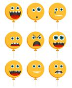 Collection of 9 isolated emoticons in baloon shape - stock illustration