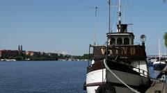 Classic ship at Kungsholmen in Stockholm Sweden Stock Footage