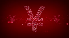 Stock Video Footage of Digital Yen Symbols Red And White