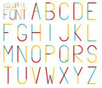 Stock Illustration of Isolated set of high and thin colorful alphabet