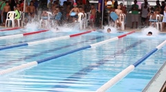 Stock Video Footage of Children are swimming. The swimming competition