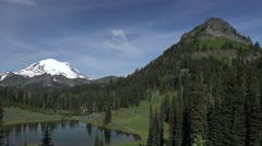 Mount Rainier, Washington from Tipsoo Lake Stock Footage