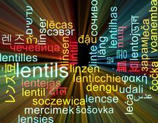 Lentils multilanguage wordcloud background concept glowing - stock illustration