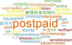 Postpaid multilanguage wordcloud background concept - stock illustration