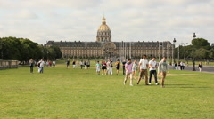 People walking in front of Les Invalides Stock Footage