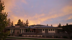 Stock Video Footage of ZERO NET ENERGY HOME AT SUNSET
