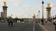 Pont Alexandre III and Les Invalides, Paris Stock Footage
